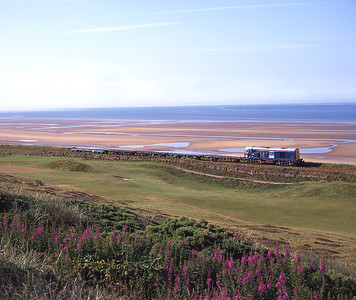 Running nose leading, 20301 returns empty flats from Drigg past Seascale golf course 8/7/97.