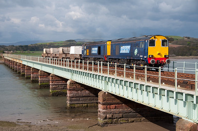 20305+20301 rattle across Eskmeals viaduct with Crewe bound flasks 3/5/10.