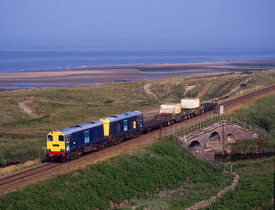 20301+20303 approach Sellafield with flasks from the north 1/7/00.