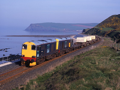 Snowplough fitted 20305 is paired with 20303 on an unusually calm morning near St Bees 28/4/99.