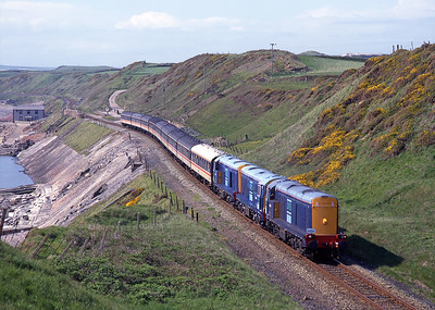 """The return Pathfinder's """"Cumbrian Coaster"""" tour on 1/6/96 passes Nethertown hauled by 20303 + 20301 + 20302."""