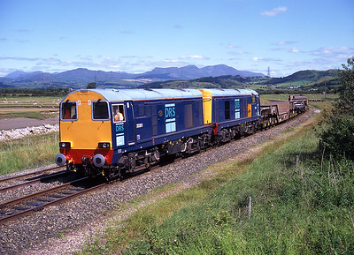 This was I think the first DRS worked train to Ramsden Dock; 20301 + 20302 pass Kirkby on 15/7/96.