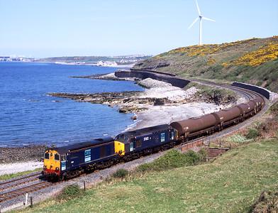 20311 + 37602 haul Sellafield bound chemical tanks at Lowca 10/5/06.