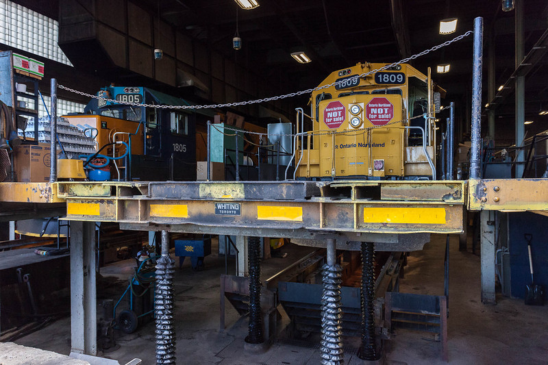 Ontario Northland Railway Historical and Technical Society tour of ONR Cochrane shops. Locomotive shops.