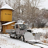 Rio Grande Southern Motorcar (Goose) 6 traveling in the snow on the upper loop at the Colorado Railroad Museum.
