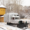 Rio Grande Southern Motorcar (Goose) 2 traveling in the snow on the upper loop at the Colorado Railroad Museum.