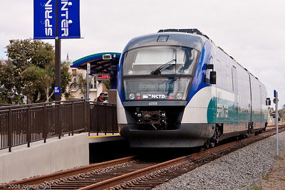 North County transit District (NCTD) Sprinter at Oceanside station.  Vehicle is a Seimans DMU 1.