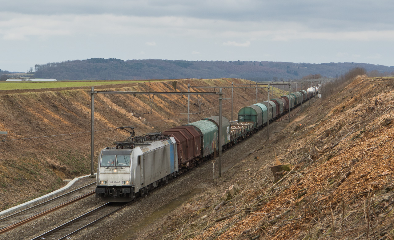 Lineas/Railpool 186 424 (ex-2863) on the mixed freight 44518 (Gremberg/D - Antwerpen-Noord) in Dalhem.