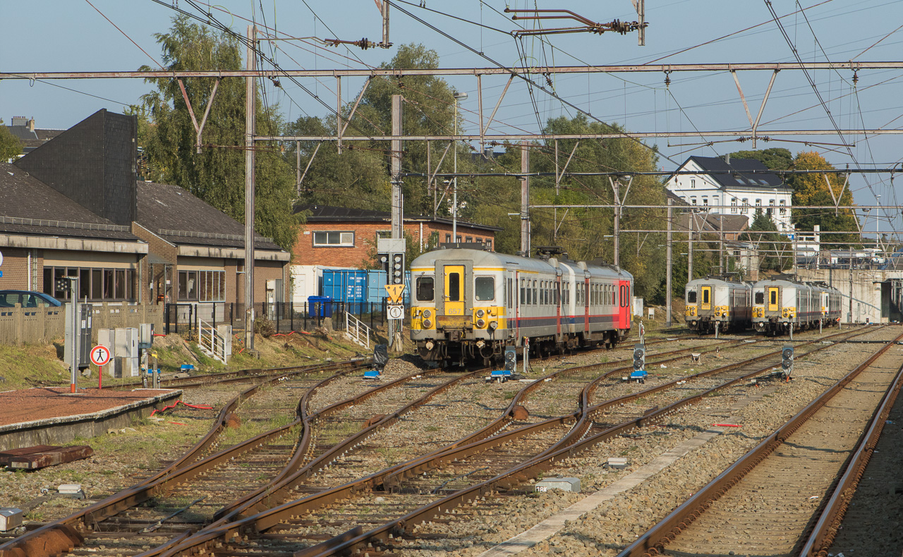 AM70 644, 652, 657, 659 and AM74 709 laying over on a Sunday in Welkenraedt.