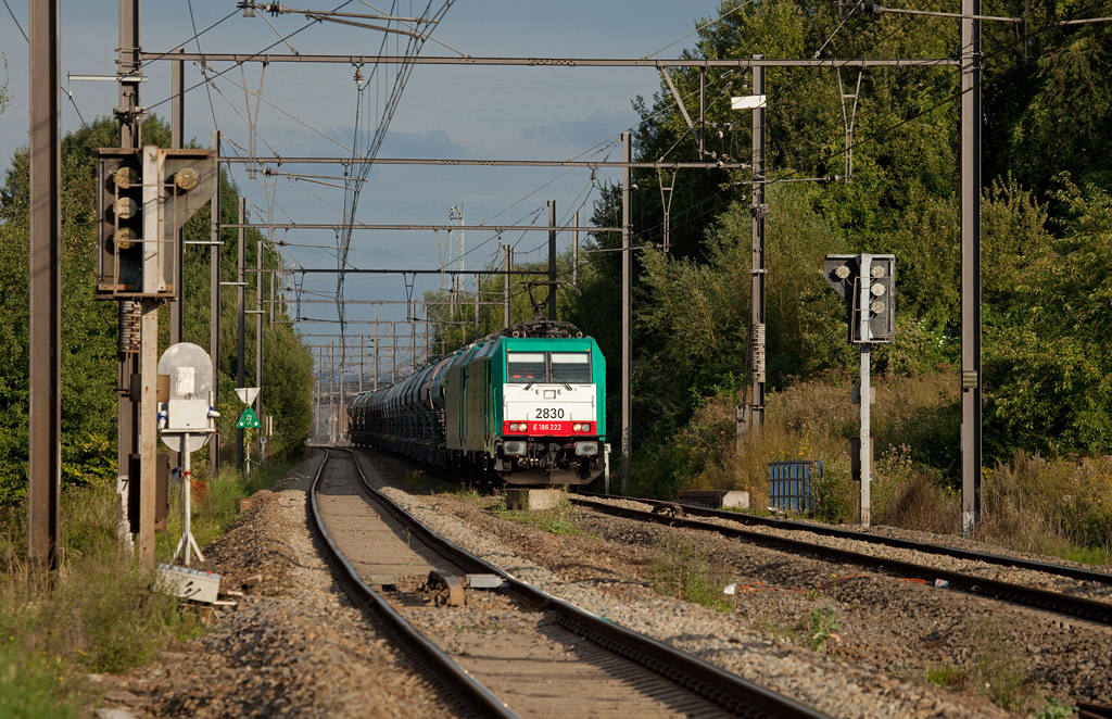 2830 has sister 2832 in tow ahead of the empty limestone train 48566 (Oberhausen/D - Hermalle) at Hindel. In the first half of 2009 these trains were the last scheduled assignments for class 77 diesels on the L24.