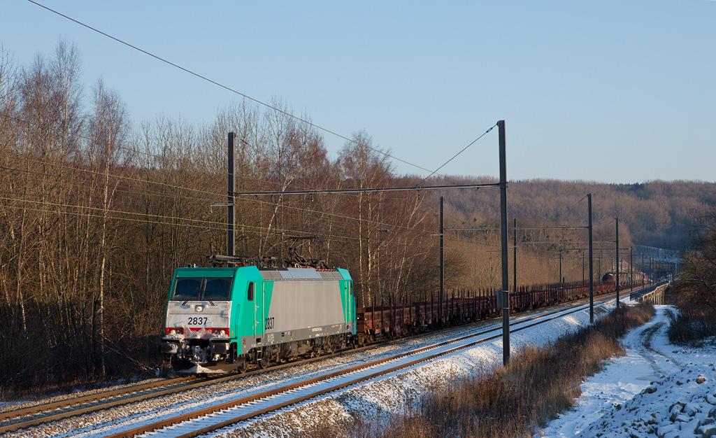 2837 brings the FE 44522 (Gremberg/D - Antwerp) westbound through Remersdaal.