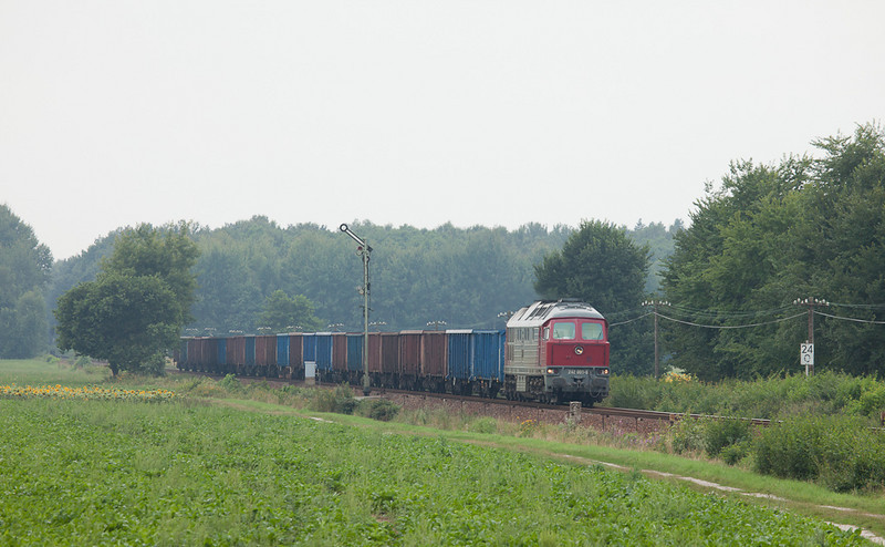 Eko-Trans 242 001 is eastbound at the large junction near Särichen. Semaphores, code lines, non-electrified territory - it doesn't get much better than this...