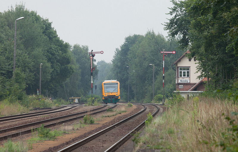 ODEG VT 650.69 running westbound as OE64 to Hoyerswerda arrives at Niesky.
