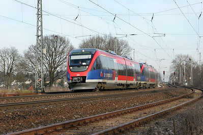 The Euregiobahn operates passenger service on a number of main and branch lines in the Aachen area and into the Netherlands. The class 643 Talents have been a resounding success with riders, offering frequent, comfortable transportation.  Here a pair of them are seen accelerating away from the station stop at Kohlscheid enroute to Eschweiler-Weisweiler via Aachen.