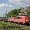 140 799 and 140 838 team up to move a coil train southbound through Lintorf, a small place between Düsseldorf and Duisburg that sees a near-constant parade of freight traffic from and to the Ruhr area and the ports in the Netherlands. During 2008 the nearly half-a-century old standard electrics of class 140 were still a common sight on all kinds of heavy freight trains, oftentimes doubleheaded. That's the abandoned station building in the background.