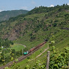 A French Alstom Prima on an upriver international freight train passes the vineyards at Neef.