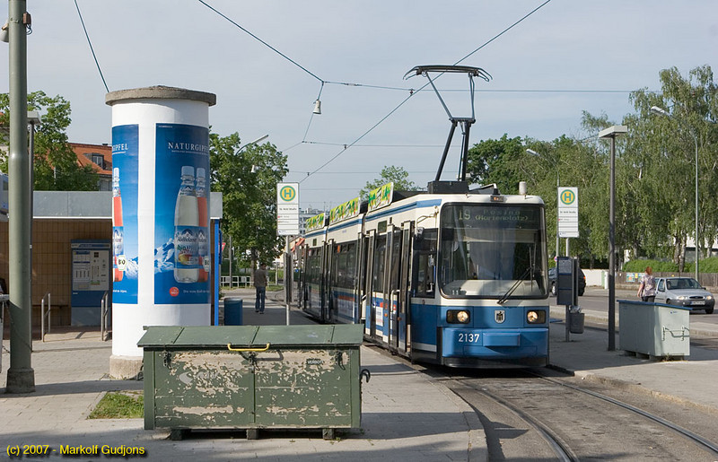 Munich has an extensive tram system. This modern car forms a service on route 19 towards Pasing and awaits departure at the other end of that line, St. Veit Strasse.