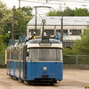 Two old fouraxle trams used in special service outside the Leuchtenbergring shops.