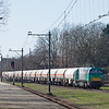 SNCF Fret Benelux G2000 1615 leads the CO2-train 48649 (Lutterade DSM - Lyon St. Priest/F) out of the giant DSM chemical complex at Geleen-Lutterade.