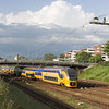 A six-car IRM leaves Sittard southbound for Maastricht. These EMUs have provisions for multiple power systems but currently only run within the Netherlands.