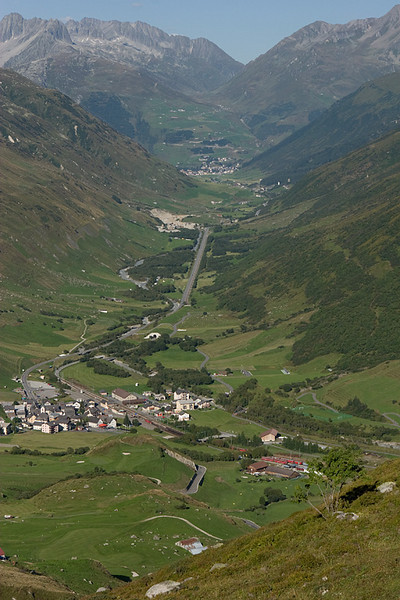 Realp and the Oberalppass viewed from the Furkapass.
