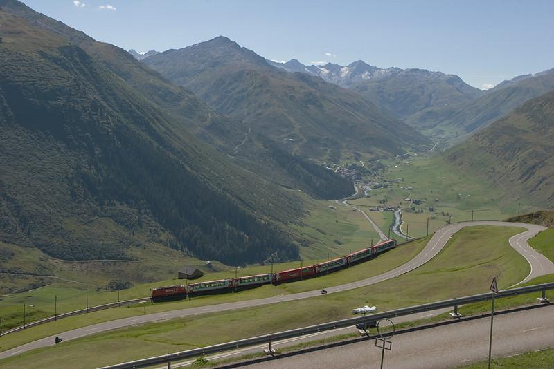 View from the Oberalppass towards the Furkapass.