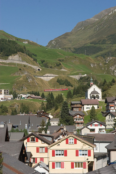 Oberalppass viewed from the town of Andermatt.