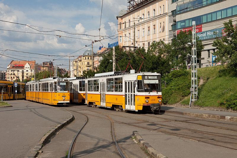 "Budapest - Ganz CSMG2 1410 on line 41 and Tatra T5C5 4039 on line 18 at Moszkva Ter.  For more information about the Budapest tram network, check out the fantastically detailed <a href=""http://hampage.hu/trams/thg2bp/"">Tram-Hiker's Guide to Budapest </a>."