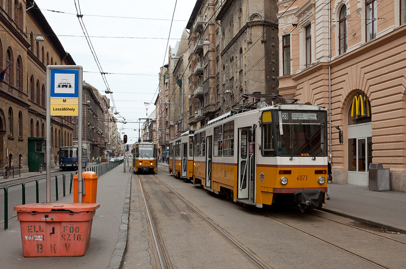 Budapest - Tatra T5C5s meet at the terminus of line 28.