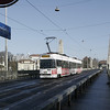 Bern - a trolley on line 9 enters downtown across the Kornhausbrücke.