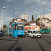 Tatra KT4YU 319 fights Monday morning rush hour traffic running on line 3 across Tresnjevka Trg.