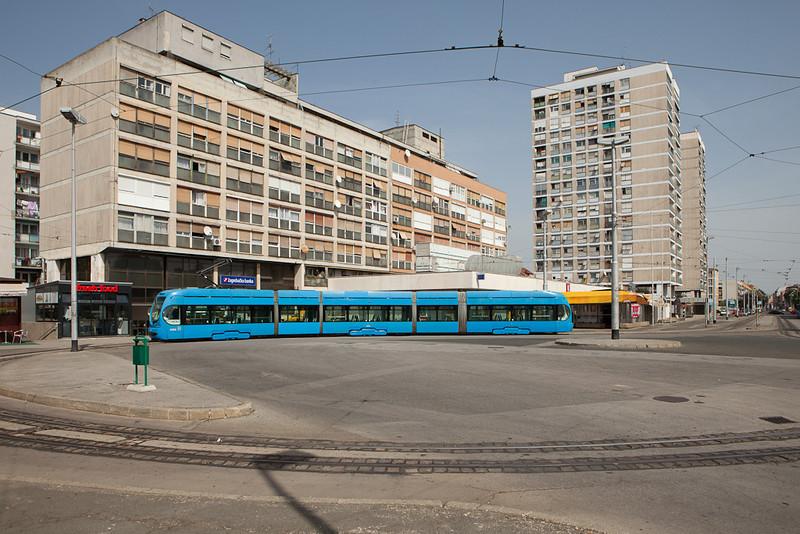 Crotram TMK-2200 2208 on line 12 turns on the Ljubljanica loop.