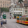 Basel - trains on lines 3 and 11 close to the music academy. This is a very busy intersection of four trolley routes.