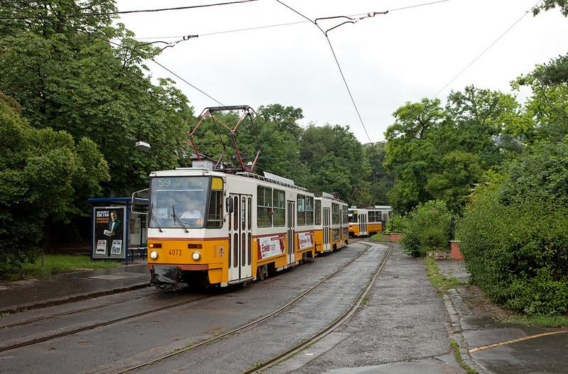 Budapest - 2 Tatra T5C5K trains in the Szent Janos Korhaz loop on line 59.