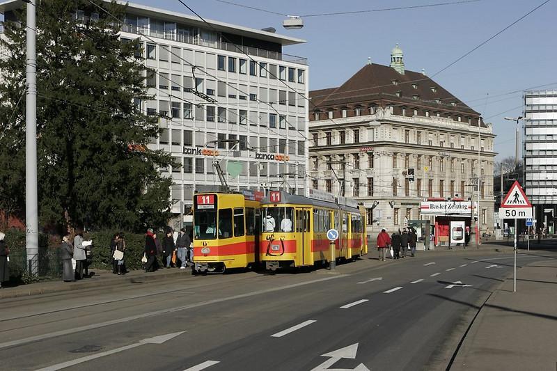 Basel - up- and downbound trains on line 11 meet at Aeschenplatz.