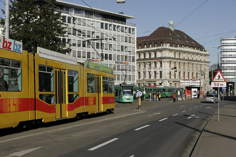 Basel - train time at Aeschenplatz! 5 trolley lines converge here.