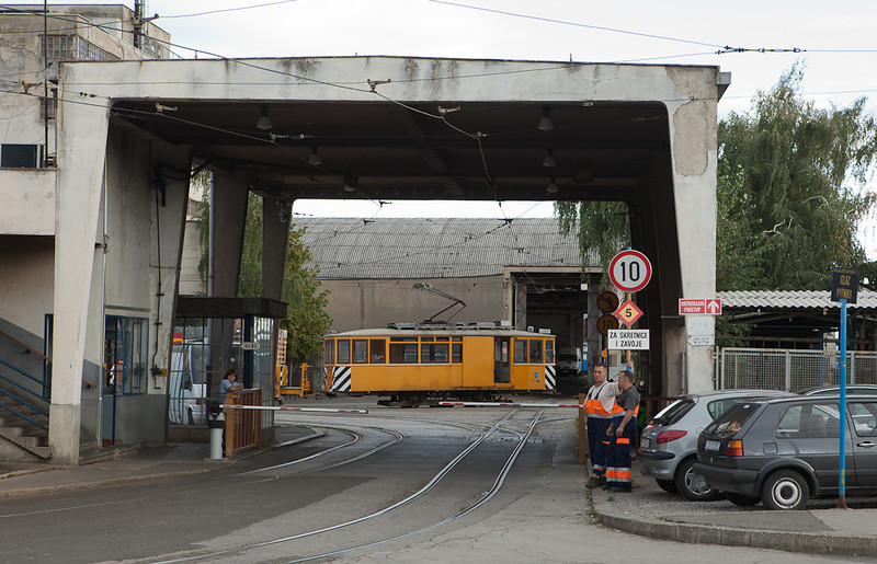An old two-axle trolley in MoW service inside the Ljubljanica depot.