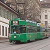 Basel - BVB motor car 501 running on line 14 to Dreirosenbrücke on Steinenberg street close to the Museum of Architecture.