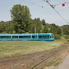 Tatra KT4YU 306 on interurban line 15 and Crotram TMK 2200 2215 on line 14 meet at the Mihaljevac loop.