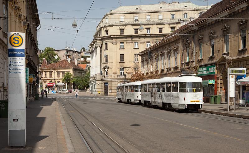 Tatra T4YU 423 with trailer B4YU 828 form a course on line 8 in Janka Draskovica.