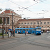 Tatra T4YU 487 with B4YU 865 on line 4 in front of the main station.