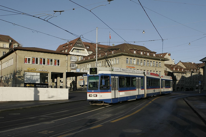 Bern - a train on interurban line 'G' departs the terminus at 'Bundesterrasse' on the south side of Bern's downtown.