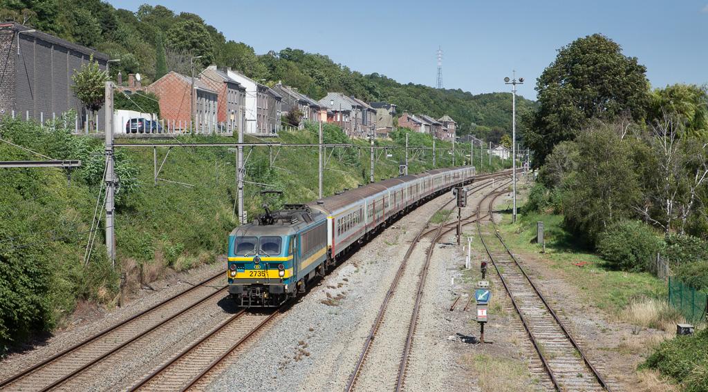 2735 brings a peak-time train through Engis.