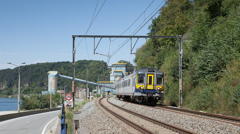 AM Cityrail 990 has just passed the Dolimes de Marches-les-Dames on its way downriver from Namur to Liege.