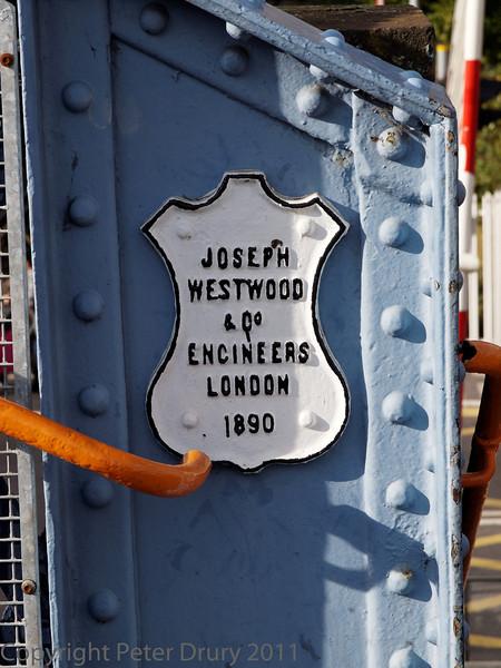 29 Oct 2011 Cosham Station footbridge.<br /> Builder's shield.