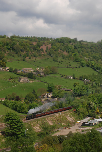 18th May 2008 and 45407 heads the Cotton Mill Express along the Calder Valley out of Hebden Bridge