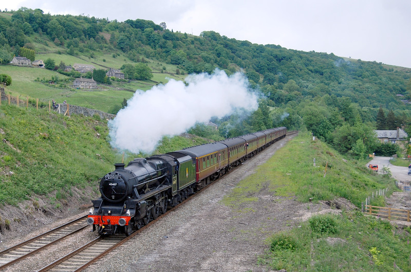 45407 between Hebden Bridge and Tod on the Cotton Mill Express of 14th June 2008