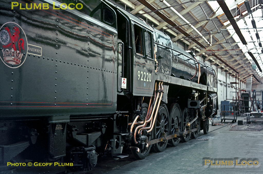 """BR Standard 9F 2-10-0 No. 92220 """"Evening Star"""" in the new paint shop at Crewe Works on Tuesday 17th October 1967. As the last steam locomotive built for BR at Swindon in 1960, it was deemed worthy of preservation as part of the National Collection and was restored to its original condition at Crewe. Its paintwork is complete, though the nameplates and connecting rods have still to be refitted. Slide No. 3167."""