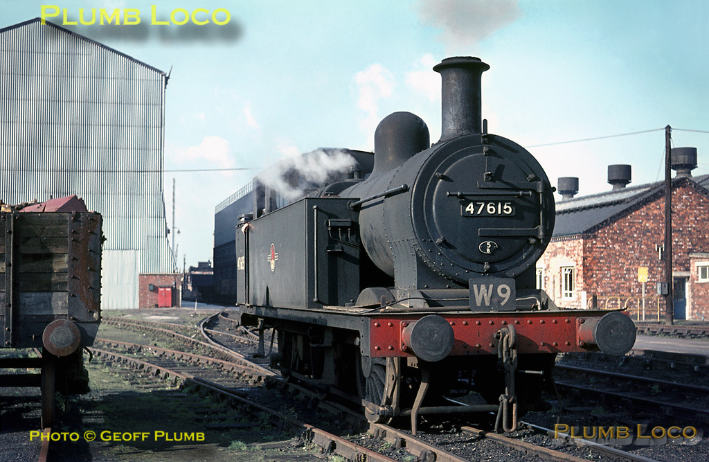 """LMS """"Jinty"""" 3F 0-6-0T No. 47615 is one of the works shunters at Crewe, carrying duty board W9. Allocated to 5B, Crewe South MPD, the engine is having a rest between duties on Tuesday 2nd November 1965. Slide No. 1675."""