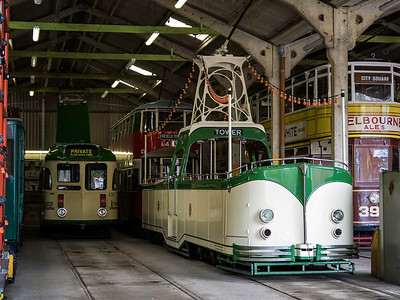 Blackpool 630 Brush Railcoach and Blackpool 236 'Open Boat' at Crich